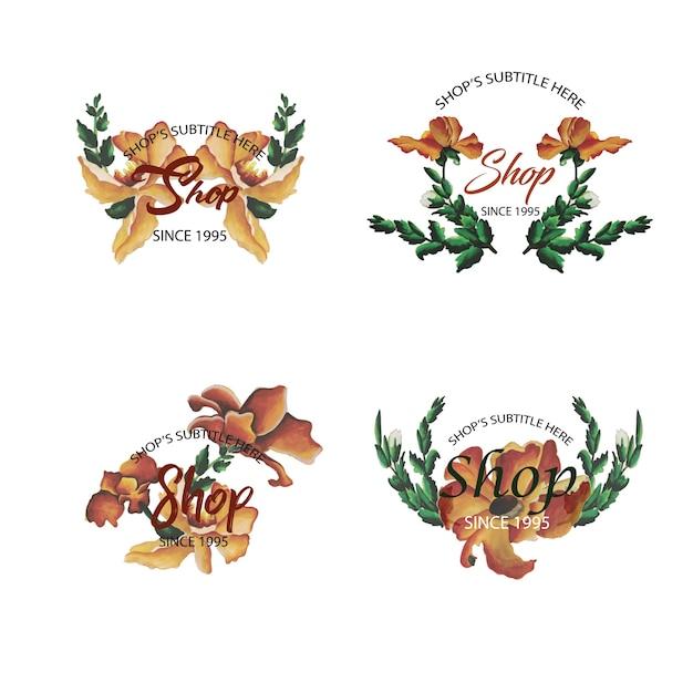 Watercolor Color Floral Logo Collection