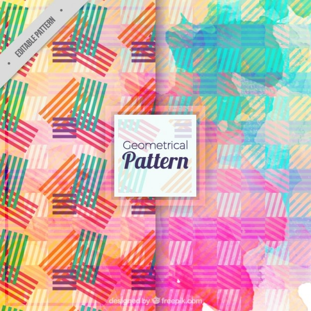 Watercolor colored stripes abstract pattern