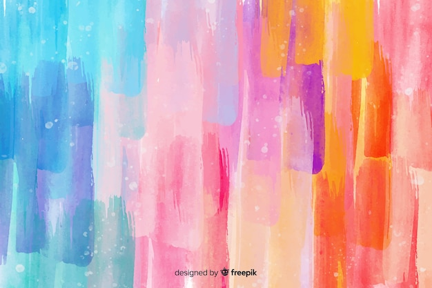 Watercolor colorful brush strokes background Free Vector