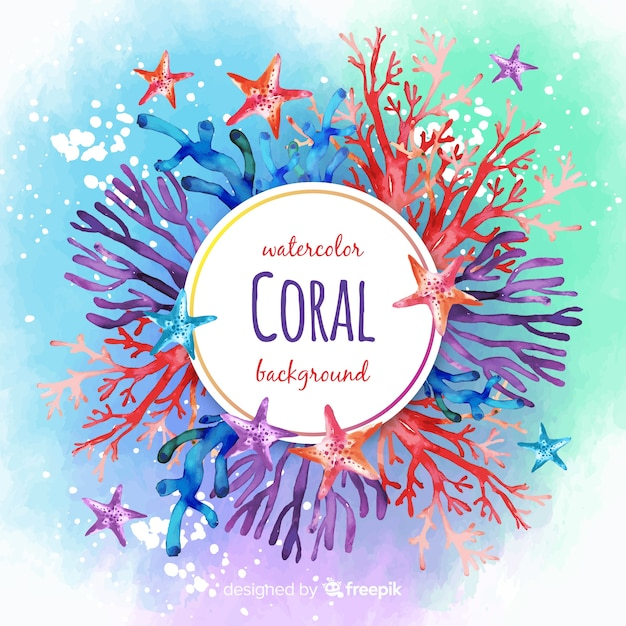 Watercolor colorful coral background Free Vector