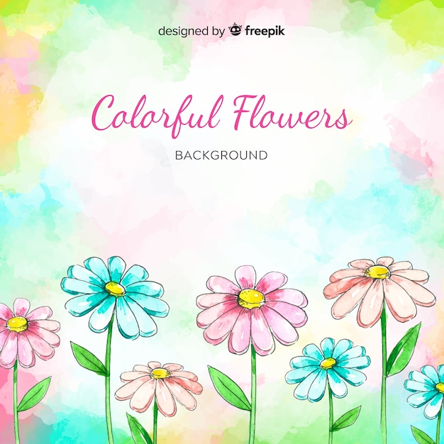 Watercolor colorful floral background Free Vector