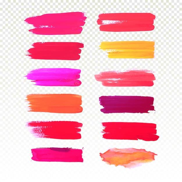 Watercolor colorful hand draw stroke set design vector Free Vector