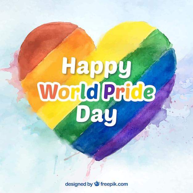 Акварель красочные сердца фоне гордости день Бесплатные векторы