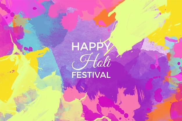수채화 다채로운 holi 축제 배경 무료 벡터
