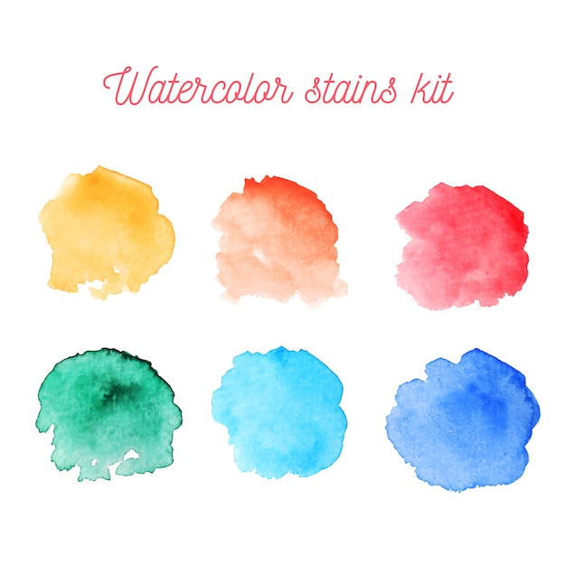 Watercolor colorful stains kit Free Vector