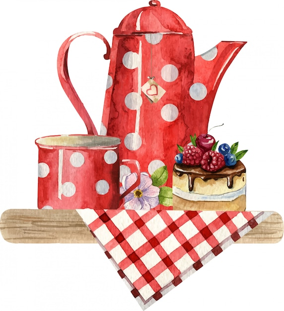 Watercolor composition with teapot, cup, cake and flowers on the checkered tablecloth. cosy kitchen decor. hand painted illustration. english breakfast, vintage style Premium Vector