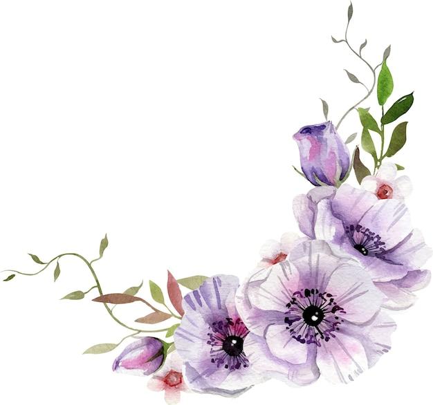 白と紫の花、葉の水彩画の構成。 Premiumベクター