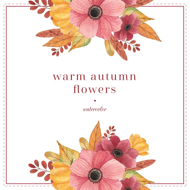 Watercolor compositions with autumn leaves and flowers Premium Vector