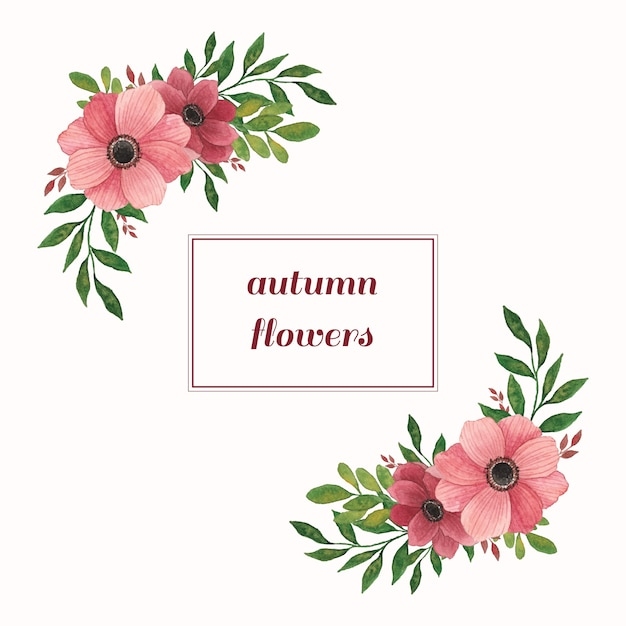 Watercolor compositions with warm flowers and leaves Premium Vector