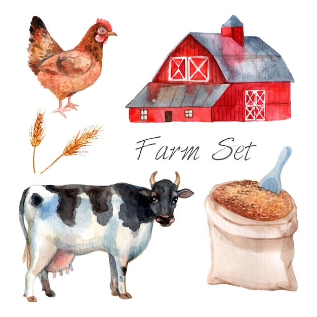 Watercolor concept farm set with cow hen and grain Free Vector