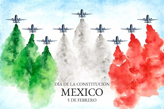 メキシコの旗と水彩憲法の日の背景 無料ベクター