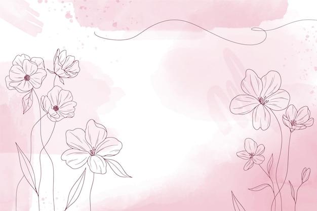 꽃 손으로 그린 요소와 수채화 복사 공간 배경 무료 벡터