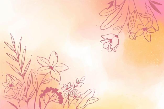 花と水彩コピースペースの背景 無料ベクター