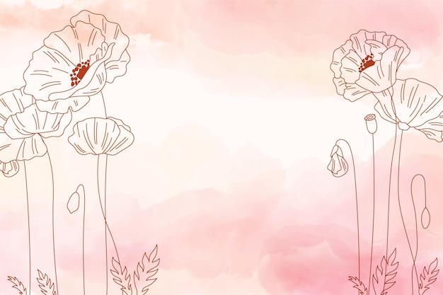 Priorità bassa dello spazio della copia dell'acquerello con i fiori Vettore gratuito