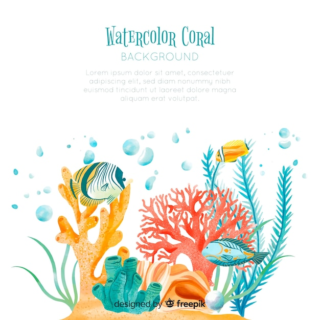 Watercolor coral background template Free Vector