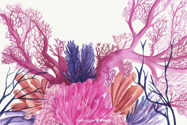Watercolor coral background Free Vector