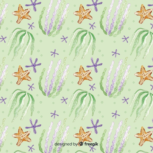 Watercolor coral pattern Free Vector