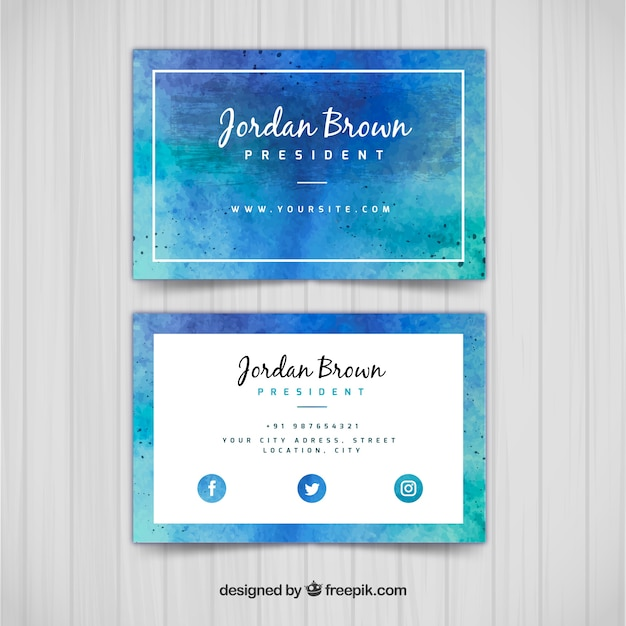 Watercolor corporate card in blue tones Free Vector