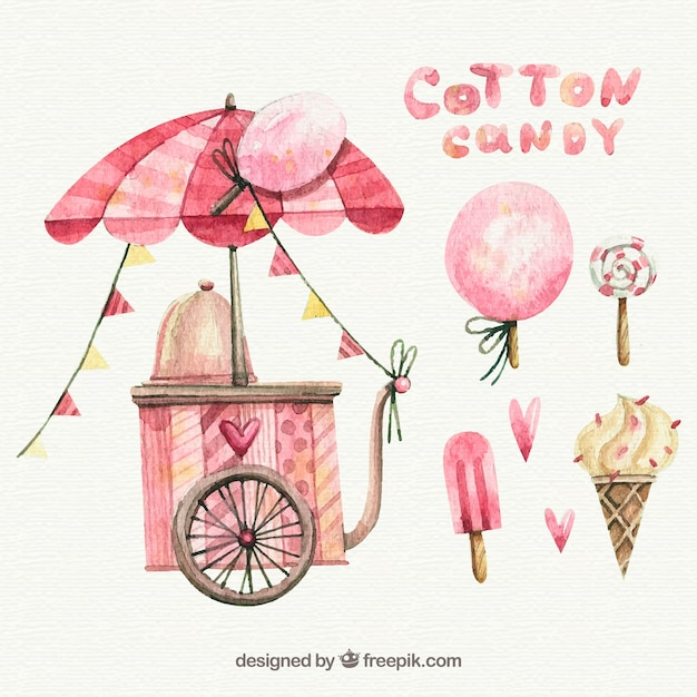 Watercolor cotton candy cart lollipop and ice creams vector free watercolor cotton candy cart lollipop and ice creams free vector colourmoves Image collections
