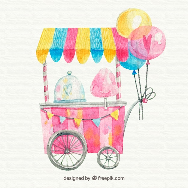 Watercolor cotton candy cart with balloons vector free download watercolor cotton candy cart with balloons free vector colourmoves Image collections
