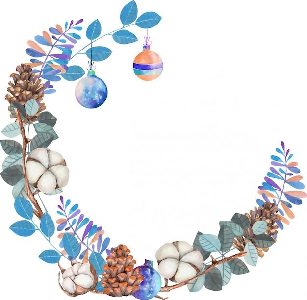 Акварельные цветы хлопка, сосновые шишки и синие ветки зимний рождественский венок Premium векторы