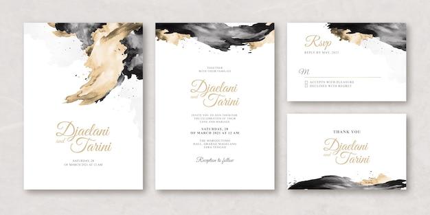 Watercolor creamy wedding card set template Premium Vector