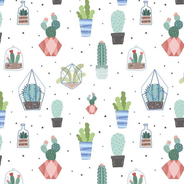 Watercolor creative cactus pattern Free Vector
