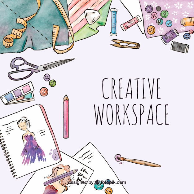 Watercolor creative workspace Free Vector