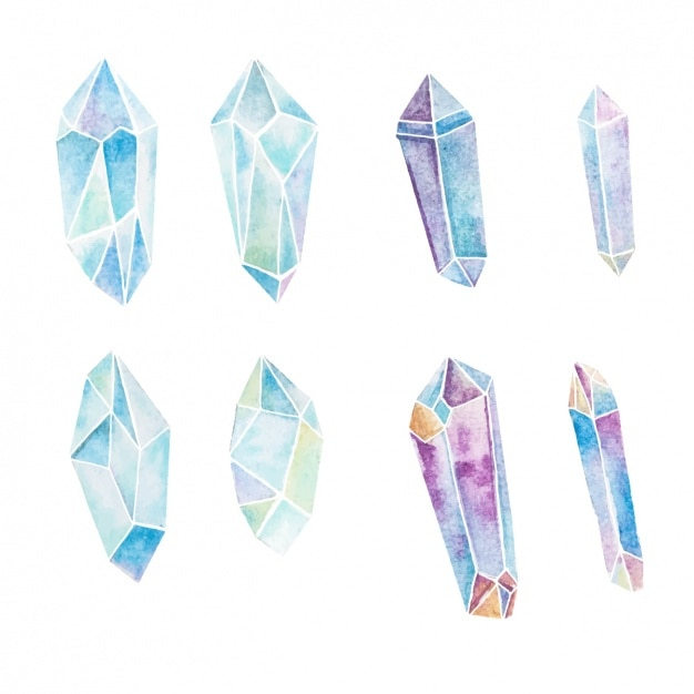 Watercolor crystals collection Free Vector