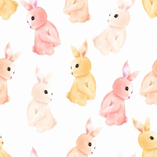 Watercolor Cute Baby Bunny Rabbit Seamless Pattern Wallpaper Premium Vector