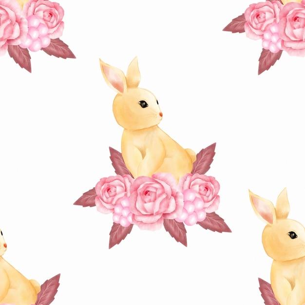 Watercolor cute baby pink bunny rabbit seamless pattern wallpaper Premium Vector