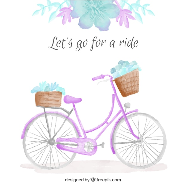 Watercolor cute bicycle with floral detail\ background