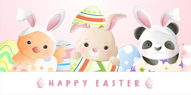 イースターの日の水彩かわいい漫画の小さなウサギ Premiumベクター