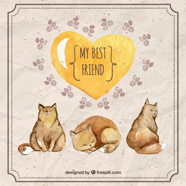 Watercolor cute cats with a yellow heart