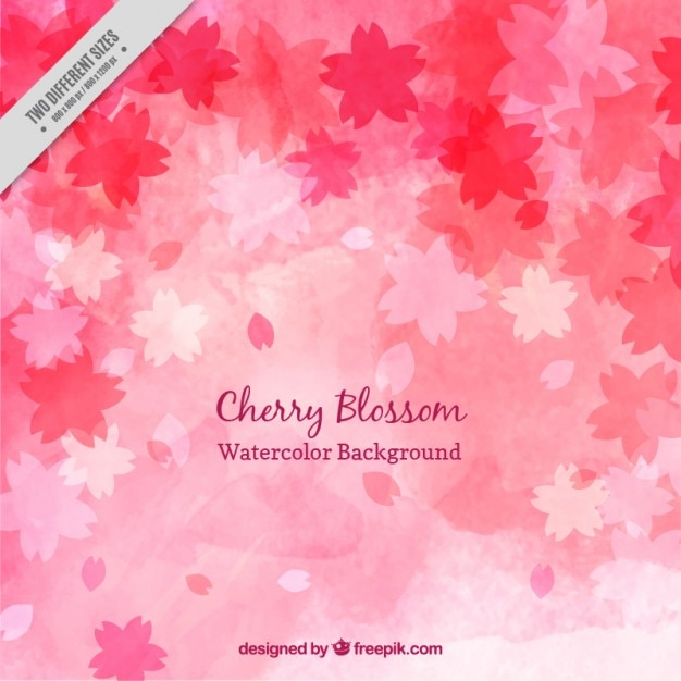 Watercolor cute cherry blossom background Free Vector