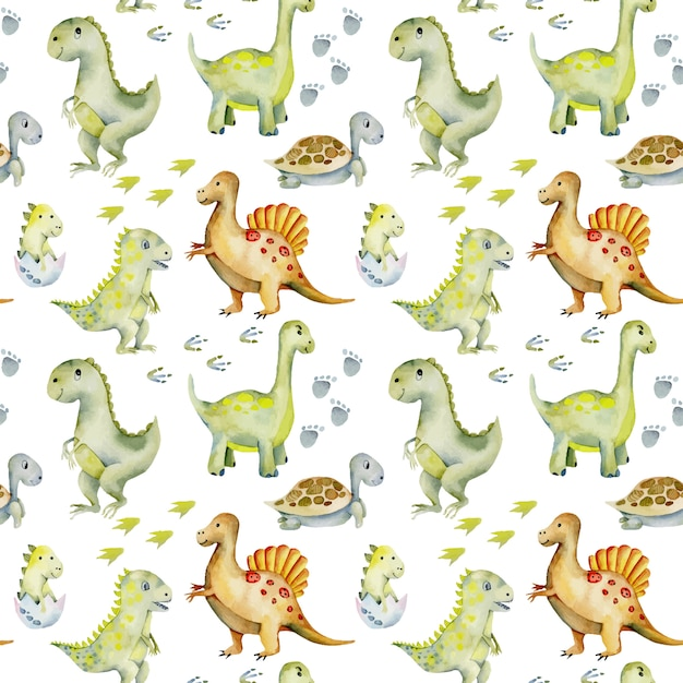 Watercolor cute dinosaurs, turtles and baby dino seamless pattern Premium Vector