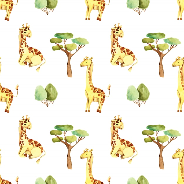 Watercolor cute giraffes and trees seamless pattern Premium Vector