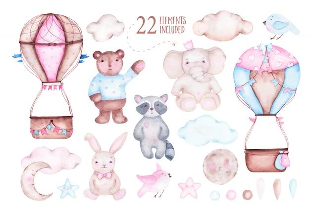Watercolor cute hot air balloon with elephant bear raccoon bunny moon birds Free Vector