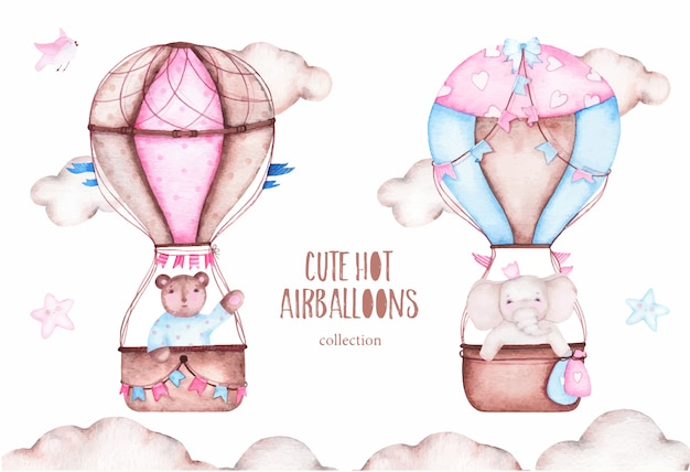 Watercolor cute hot air balloons with bear elephant Free Vector
