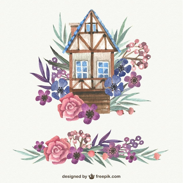 Watercolor Cute House With Flowers Vector Free Download