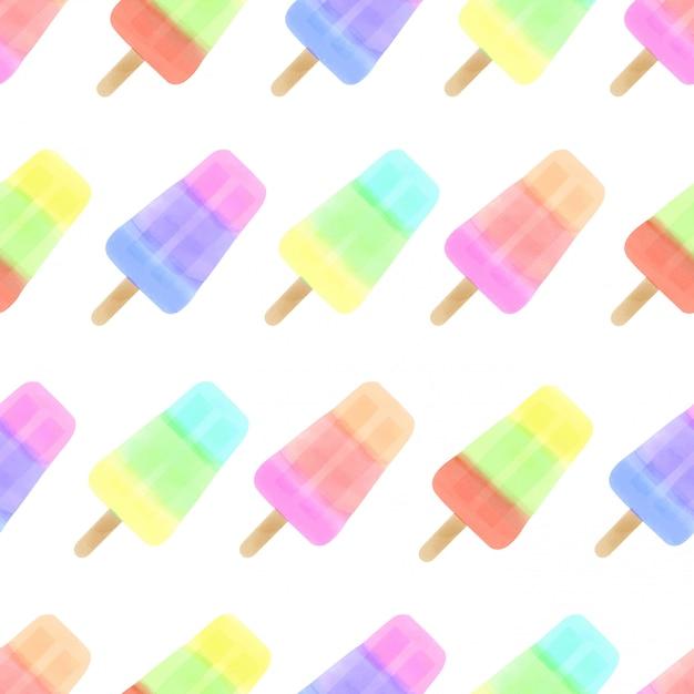 Watercolor cute ice cream seamless pattern colorful summer Premium Vector