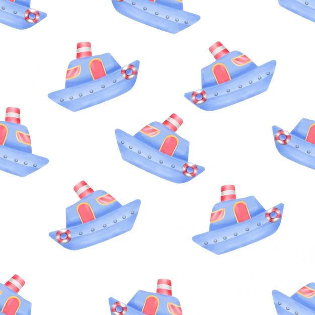 Watercolor cute ship seamless pattern Premium Vector