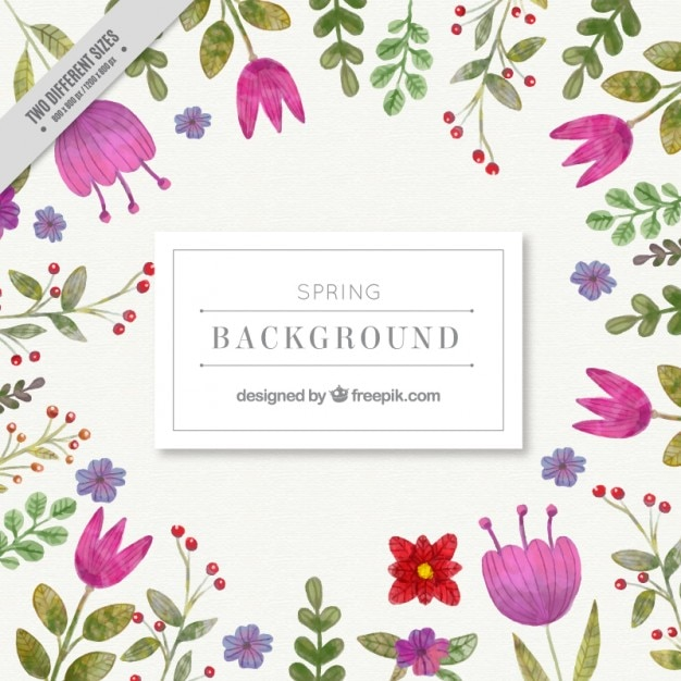 Watercolor cute spring flowers\ background