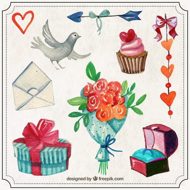 Watercolor cute valentine things