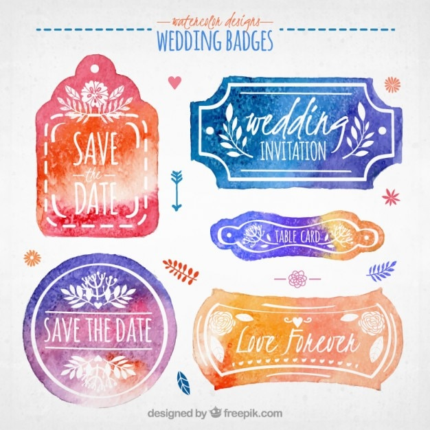 Watercolor cute wedding badges  Free Vector