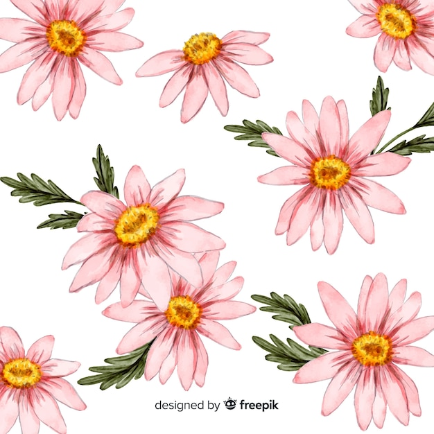 Watercolor daisy flowers and leaves background Free Vector