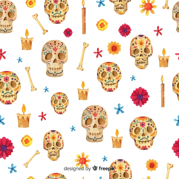 Watercolor day of the dead pattern Free Vector