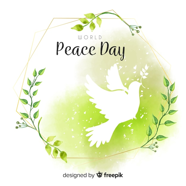 Watercolor day of peace composition with white dove Free Vector