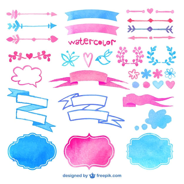 Watercolor decorative elements Free Vector