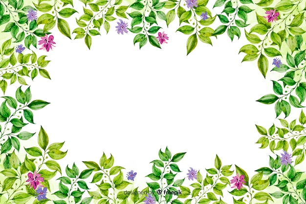 Watercolor decorative floral frame background Free Vector